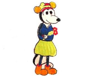 Minnie Mouse applique, Antique Applique, Very rare Collectible 1930's Minnie Mouse Applique, Silk embroidered applique. #645G84K24