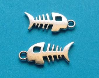 10 pc Fish Bone Charm Silver - CS2304