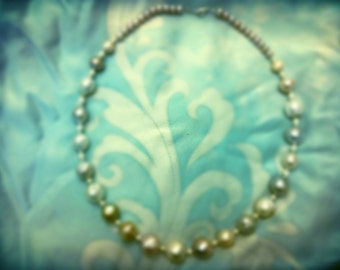 sterling silver large pearl and cultured feshwater pearl necklace
