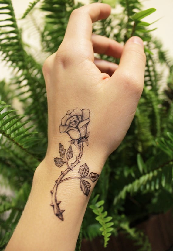 Rose Twig Temporary Tattoo, Black Ink Floral Tattoo Design, Botanical Drawing, Nature Tattoo