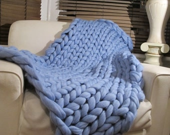 Super Chunky blanket 100% Pure Merino Wool Blanket Handmade Throw blue Extreme knitting chunky knit blanket super bulky throw wool ethical