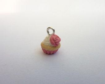 Pink Rose Cupcake Charm