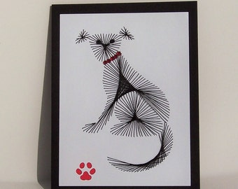 Hand Stitched Black Dog Note Card
