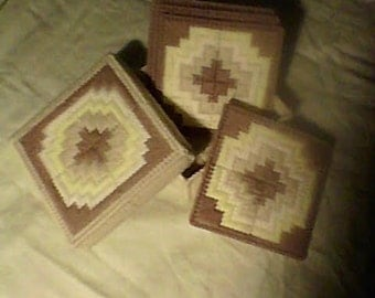 6 piece 4-coaster and bottom/lid holder 7-mesh plastic canvas Size 5 x 5 #100