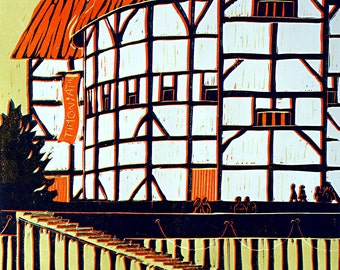 Linocut of the Globe Theatre, Bankside, London