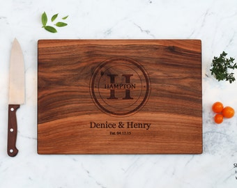 Monogram Cutting Board Engraved Wedding Present For Couple Engagement Parents Anniversary Last Name Family Established Personalized Gifts