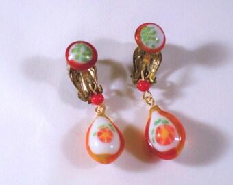 Vintage Orange Flower Glass Dangly Drop Clip Earrings Signed Japan U3182