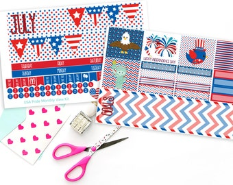 USA Pride Patriotic Monthly View Planner Sticker Kit forErin Condren Planners or Recollections Spiral Planners