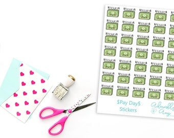 Kawaii Pay Day Reminder Planner Stickers for Erin Condren, Plum Planner, Inkwell Press, Filofax, Kikki K or Any Size Planners