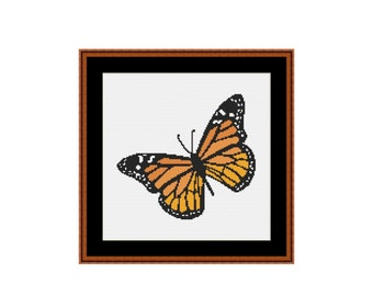 2 for 1 SALE! - Monarch Butterfly Cross Stitch Pattern, Instant Download Counted Cross Stitch Chart, Needlework Pattern (P-004)
