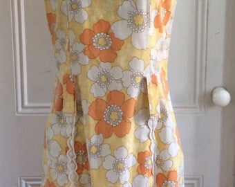 Groovy Vintage 60s / 1960s Floral Print Shift Dress - Free shipping!