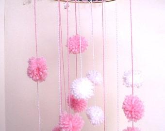 Pom Pom Baby Mobile - Pink & White Nursery Mobile - Baby Girl - Dream Catcher Mobile