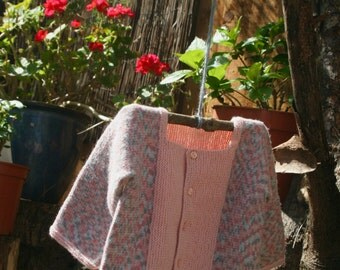 Baby cardigan and booties, pink and grey, handknitted