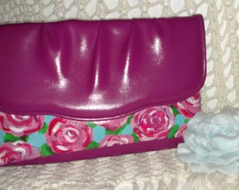 READY TO SHIP Hand Painted clutch purse. Lilly Pulitzer inspired print. Custom Ready to Ship