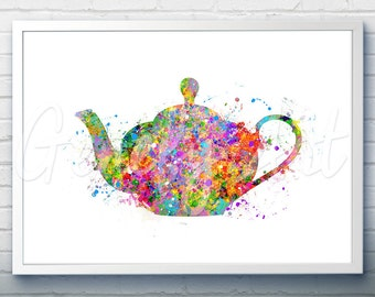 Kitchen Teapot Watercolor Art Print  - Teapot Watercolor Art Painting - Teapot Poster - Kitchen Decor - Home Decor - House Warming Gift [2]