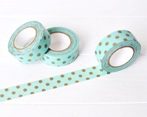 Mint and Gold Washi Tape. 15mm x 10m. Gold Polka Dot Washi Tape.