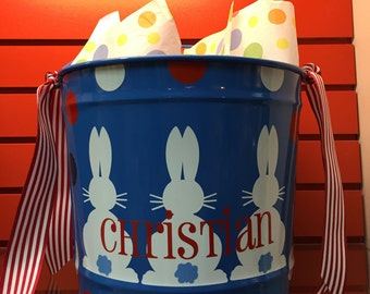 Personalized Easter Bunny Bucket- Monogrammed Bucket- 10 Quart Bucket- Easter Pail- Personalized Children's Gift- Blue Bucket