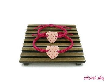 """Set of two """"pink ceramic heart bracelet"""", mother and daughter bracelet set, matching bracelets, mommy and me bracelet set, mother and child."""