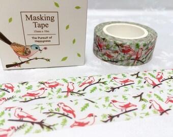 morning birds washi masking tape 10M cute bird song little bird red bird green tree deco tape sticker bird decor planner tape gift scrapbook