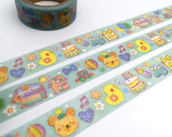 bear chicken washi tape 5M birthday cake kids party decor sticker tape Baby shower tape newborn baby invitation baby boy party decor tape