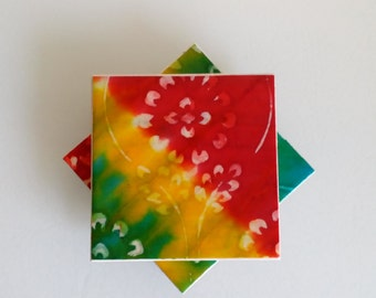 Hand-crafted Ceramic Tile Coasters, Hand-made Paper, Hand-Dyed Jute Paper, Rustic Charm,Vivid Colours, Red, Green, Yellow,Kitchen Decor
