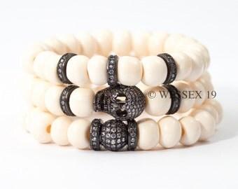 Pavé CZ Bracelet Set | Skull Bracelet | Pavé Skull Bracelet | Pavé Ball Bracelet | Neutral Bracelet Set | Elastic Bracelet Set