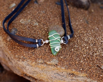 Deep Green Sea Glass Choker