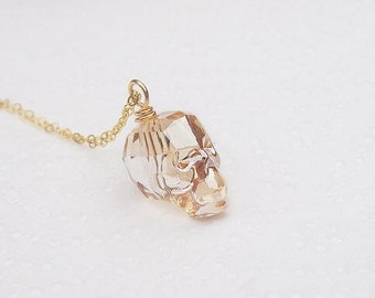 Gold skull necklace, crystal skull necklace, gold filled chain, swarovski crystal skull, gothic jewelry, skull jewelry, gift for her