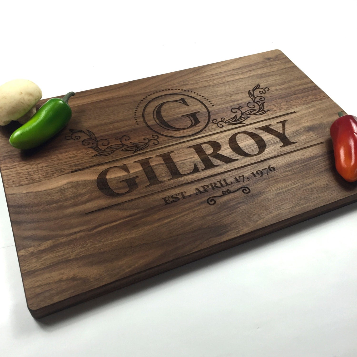 Monogramed Wedding Gifts: Cutting Board Personalized Wedding Gift Monogrammed Modern