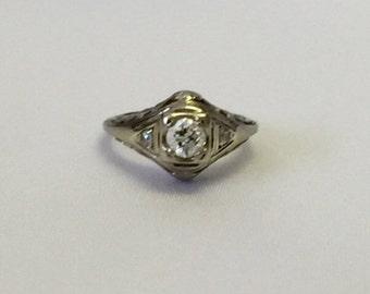 vintage mid century 18k white gold ring vintage diamond ring vintage engagement ring