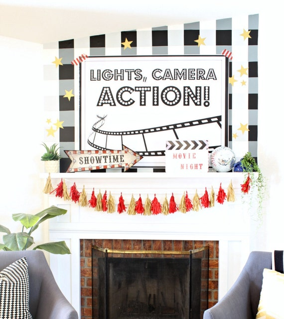 Lights Camera Action Wall Decor : Lights Camera Action oversized poster print party decor