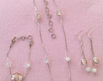 Pink and Gold Lampwork Bead Jewellery Set