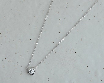 Mrs.Shen 925 Silver simple diamond Necklace,minimalist necklace,bridesmaid gift,anniversary gift,necklace,unique necklace, zen, luxury, gift