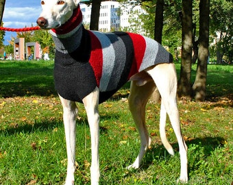 Handmade Dog Sweater - Red-Grey - Greyhound, Galgo, Italian Greyhound