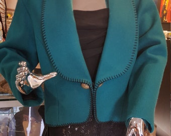 Women's Vintage 80s Teal Wool Concho Jacket by Midwest Garment Co, Size S