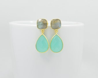 Labradorite Earrings, Aqua Chalcedony Earrings, Labradorite Gold Earrings, Silver Aqua Chalcedony Earrings, Aqua Chalcedony Gold Earrings