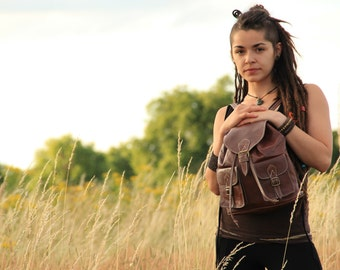 Dark Brown Leather Backpack, Womens Rucksack, Shoulder Bag, Travel Bag, Boho Bag, Satchel, Hippie Bag, Leather Bag, Accessories