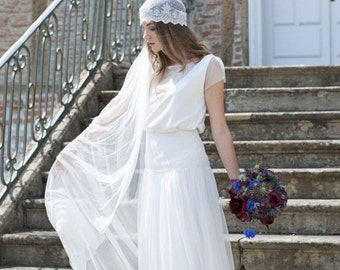 Juliet cap with long veil, the roaring twenties, beautiful and elegant