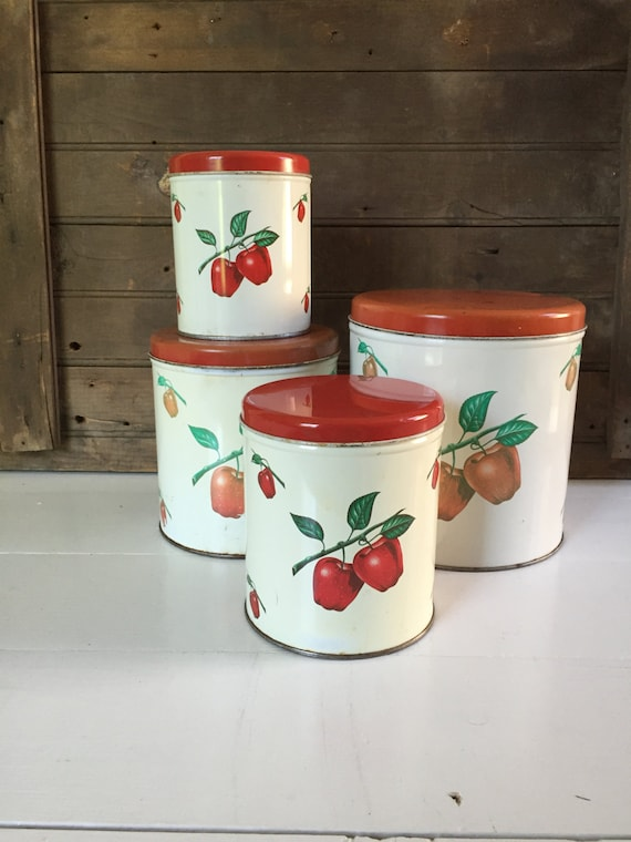 vintage apple kitchen canister set by decoware