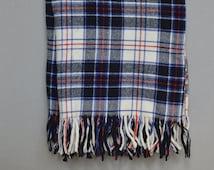 Pendleton Wool Plaid Blanket/Throw, Pendleton Plaid, Blue, Black, Red, Cream