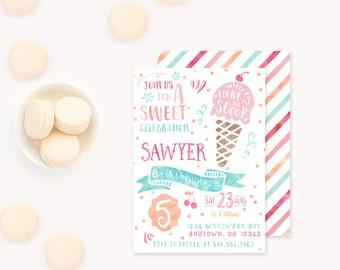 Ice Cream Invitation, Icecream Birthday Invitation, Icecream Birthday Party Invite, Girl Birthday Invitation, Printable watercolor Ice cream