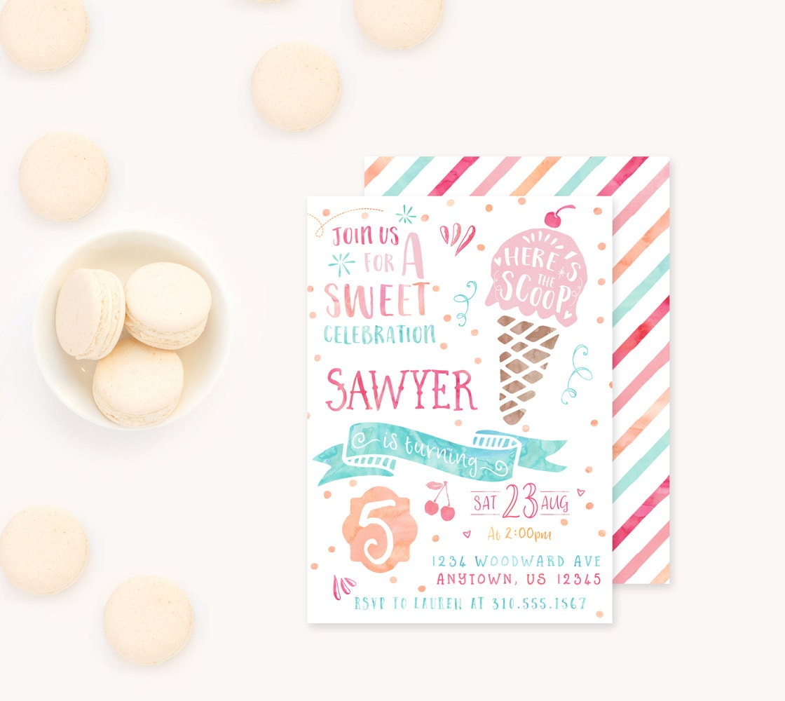 Ice Cream Invitation Icecream Birthday Invitation Icecream