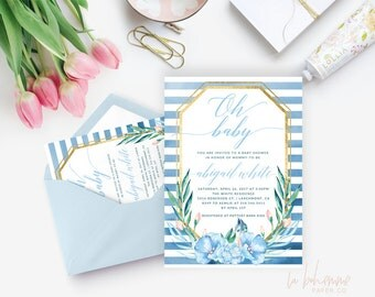 Printable Baby Shower Invitation /  Floral Baby Shower Invitation, Baby Shower Invite - Abigail