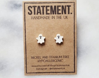 White Halloween Ghost Stud Earrings - 1 pair