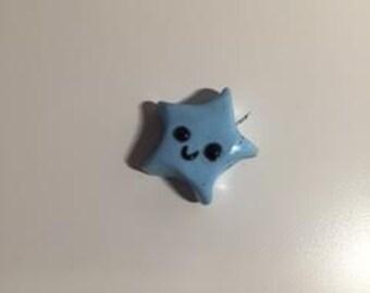 Aqua blue polymer star charm