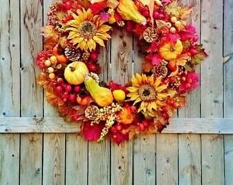 Deluxe Fall Front Door Wreaths by Sweet Lily's Garden, Lavish Fall Door Wreaths, LG Fall Pumpkin Gourd and Sunflower Wreath,   W204