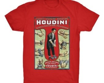 Houdini T-Shirt. Magician T-Shirt. Magic T-Shirt. Poster Print Tee. 100% Ringspun Cotton Soft Tee.