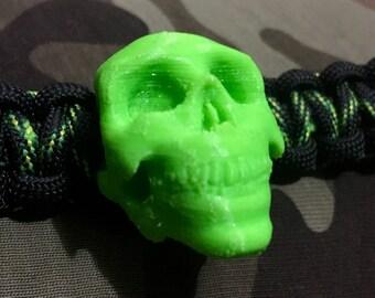 Custom Cobra Knot Paracord Bracelet with Green 3D Printed Skull Bead