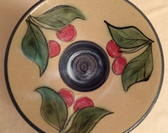 Gills Rock Stoneware Tealight Candle Holder with Cherries