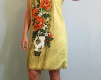 1960s Vintage Floral Golden Yellow Sheath Dress by Florida Handprints Miami Florida | Sun Dress | Clambake | Beach | Size Medium 6-8